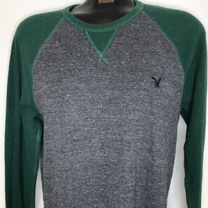 American Eagle green grey long sleeve embroidered logo thermal crew neck shirt L